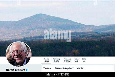 Kiev, Ukraine. 8th Oct, 2018. Twitter page for Bernie Sanders. Bernard Sanders is an American politician serving as the junior United States Senator from Vermont since 2007. Credit: Igor Golovniov/SOPA Images/ZUMA Wire/Alamy Live News - Stock Photo