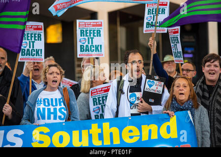 A protest is taking place outside Southend Council Civic Centre offices prior to a People Scrutiny Committee meeting deciding on whether the Council will accept or reject the Mid and South Essex STP (Sustainability & Transformation Partnership), referring it back to the Secretary of State for Health. In particular there are fears that Southend hospital will be downgraded. Refer it Back slogan. Result was to refer it back - Stock Photo