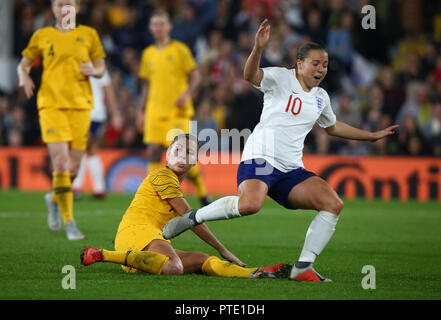 London, UK. October 09 2018. Fran Kirby of England during International Women friendly between England Women( The Lionesses) and Australia Women ( Matidas) at Craven Cottage Stadium, London , England on 09 Oct 2018.  Credit: Action Foto Sport/Alamy Live News - Stock Photo