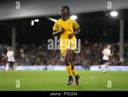 Craven Cottage, London, UK. 9th Oct, 2018. Womens International Football Friendly, England versus Australia; Princess Ibini of Australia Credit: Action Plus Sports/Alamy Live News - Stock Photo