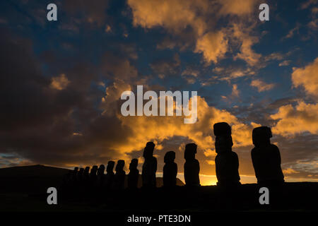 Moai statues at Tonjariki cultural site on Rapa Nui, or Easter Island, Chile - Stock Photo