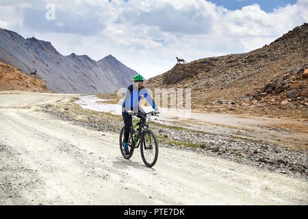 Man on mountain bike rides on the road in the high mountains against overcast sky background - Stock Photo