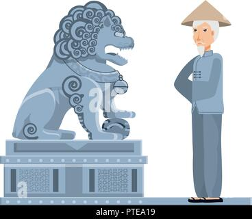 chinese lion statue with old man peasant vector illustration design - Stock Photo