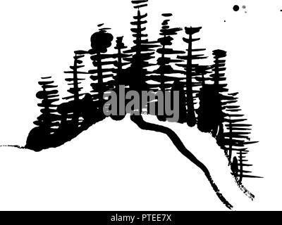 A black and white Chinese style ink painting, abstract trees made up by brush strokes, on a white background with copy space, a vector illustration - Stock Photo