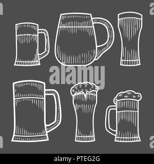 Beer glass, wooden mug. Sketch style vector illustration. Hand drawn isolated beverage object on white background. Alcoholic drink drawing. Great for  - Stock Photo