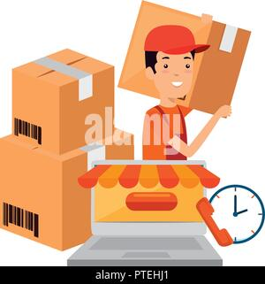 delivery worker with boxes and laptop - Stock Photo