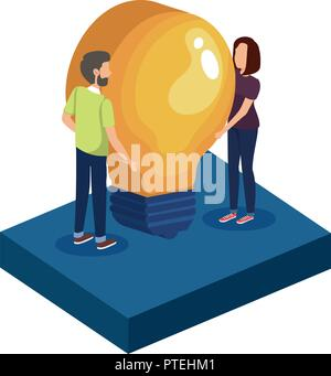 couple with bulb avatars characters - Stock Photo