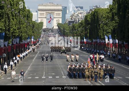 American soldiers, sailors, airmen and Marines lead the annual Bastille Day military parade down the Champs-Elysees in Paris, July 14, 2017. DoD - Stock Photo