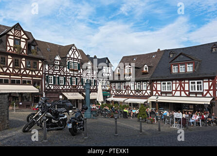 Historic half-timbered houses at the market square in the old town Braunfels, Hessen, Germany. - Stock Photo