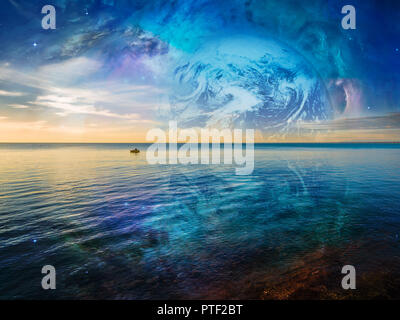 Fantasy landscape - lonely fishing boat floating on tranquil ocean water with planet and galaxy in the skies. Elements of this image are furnished by  - Stock Photo