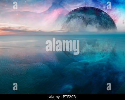 Fantasy unreal seascape - small fishing boat sailing across calm sea with huge alien planet and galaxy in the sky reflecting in the water. Elements of - Stock Photo