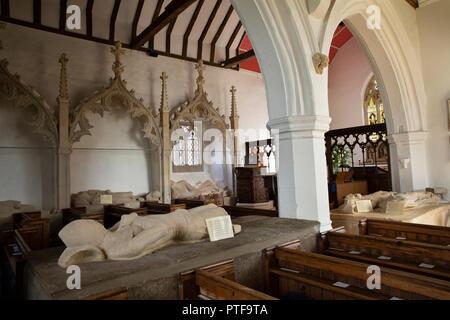 England, Berkshire, Aldworth, St Mary's church, the Aldworth Giants, 14th century de la Beche family effigies - Stock Photo