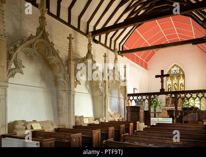 England, Berkshire, Aldworth, St Mary's church, Aldworth Giants, de la Beche family effigies beside pews in nave - Stock Photo