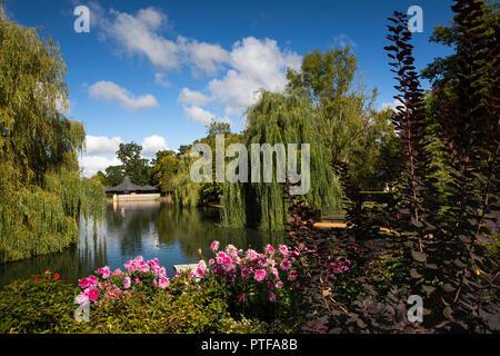 England, Berkshire,  Lower Basildon, Beale Park Wildlife Park & Gardens, lake and Beale Centre - Stock Photo