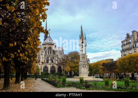 Paris, France - November 2017: Notre Dame de Paris Cathedral, most beautiful Cathedral in Paris. East side of the Cathedral. France. - Stock Photo