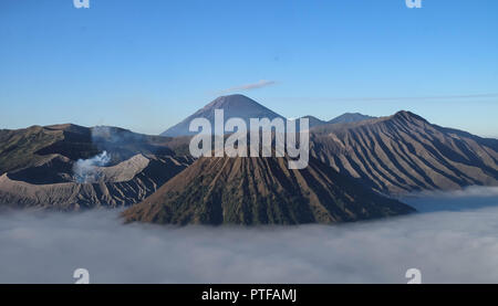 Sunrise on Mt. Bromo and the Tengger Semeru caldera from Mount Penanjakan, Indonesia. this here is one of the destination to travel. - Stock Photo