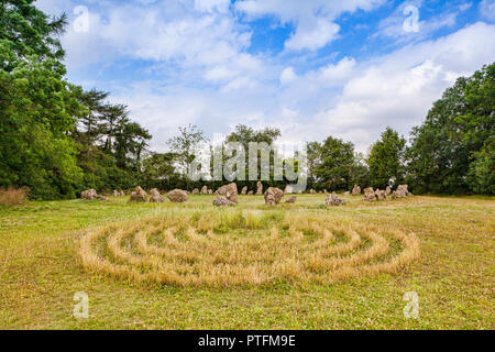 The Rollright Stones or King's Men, a prehistoric stone circle in the Rollrights area of Oxfordshire. - Stock Photo