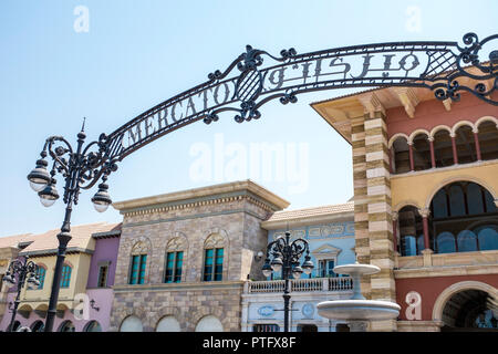 Entrance sign for Mercato Mall in the Jumeirah 1 district of Dubai. The Italian-themed mall is home to more 140 shops, cafes and restaurants. - Stock Photo