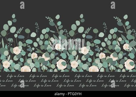 Elegant seamless pattern with silver dollar eucalyptus branches and roses on black background. Design for bedding textile, cards, borders. Vector - Stock Photo