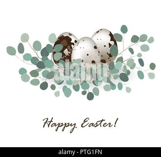 Stylish card background with easter quail eggs and eucalyptus leaves. Easter greeting banner, place for text. Vector illustration - Stock Photo