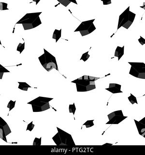 Graduation caps fly in the air in a moment of celebration. Seamless pattern. Vector illustration, black and white - Stock Photo