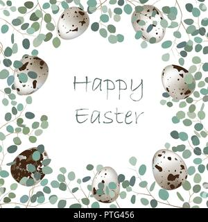 Happy Easter or spring greeting card frame. Quail eggs and leaf sprigs of eucalyptus background. Vector illustration - Stock Photo
