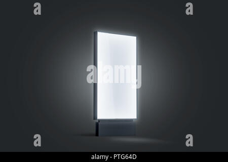 Blank white glowing pylon mockup, isolated in darkness, 3d rendering. Empty illumination street display mock up. Clear luminous outdoor lightbox templ - Stock Photo