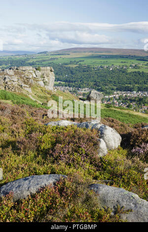 View from Ilkley Moor, looking towards Cow and Calf rocks and town, Rombalds Moor, Ilkley, West Yorkshire, England, West Yorkshire, August - Stock Photo