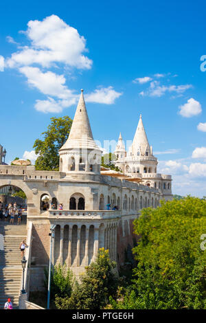 Fisherman's Bastion or Halaszbastya on the Buda Castle hill in Budapest, Hungary - Stock Photo