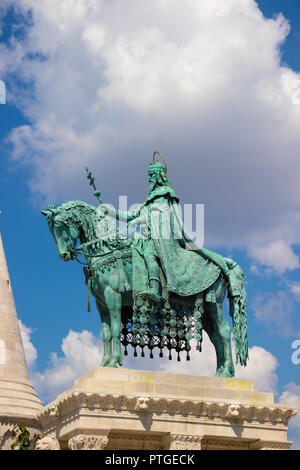 St Stephen's statue at Fisherman's bastion in Budapest, Hungary - Stock Photo
