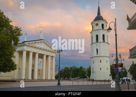 Vilnius city center, view at dusk of the Cathedral and Belfry bell tower sited in Cathedral Square in Vilnius Old Town, Lithuania. - Stock Photo