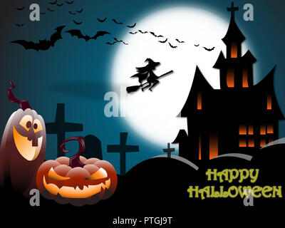 Halloween Concept - Scary Halloween landscape with a haunted house, a graveyard, a witch and flying bats in full moon - Stock Photo