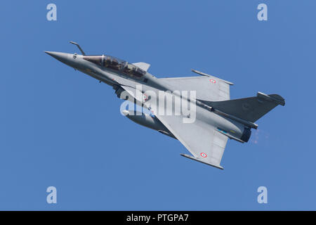 Leeuwarden, Netherlands April 18, 2018: A French Air Force Dassault Rafale during the Frisian Flag exercise - Stock Photo