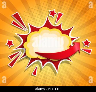 Comic Boom frame in retro pop art style on sunburst background. Sign of explosion, sticker tag, special offer label, advertising badge, banner. Vector illustration. - Stock Photo