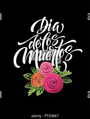 Day of the dead. Mexican flowers traditional embroidery with typography letters. Floral lettering Dia de los Muertos. Vector illustration - Stock Photo