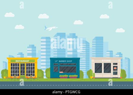 Set of vector flat design restaurants exterior and shops facade: barber shop, supermarket. Store front window buildings icons with city background. - Stock Photo