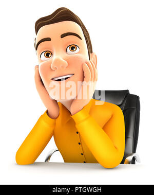 3d man at office daydreaming, illustration with isolated white background - Stock Photo