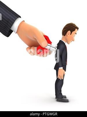 3d big hand turning wind up key on businessman back, illustration with isolated white background - Stock Photo
