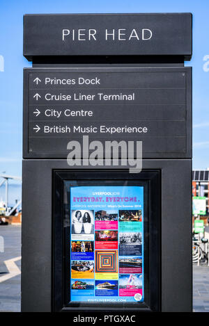 September 27th, 2018 Liverpool Uk. information stand at Pier Head, Liverpool advertising various attractions including a poster  about what's on in su - Stock Photo