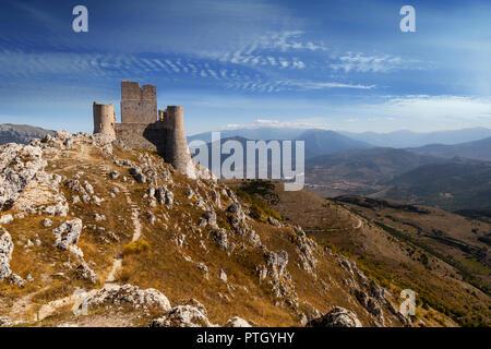 The 10th Century Rocca Calascio, a mountaintop fortress near the hilltown of Santo Stefano di Sessanio in the Province of L'Aquila in Abruzzo, Italy.  - Stock Photo