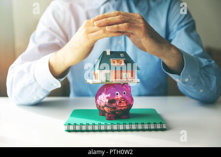 housing savings, mortgage and insurance concept - Stock Photo