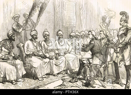 Peace negotiations between Burmese and British officials, leading to the Treaty of Yandabo in 24 February 1826, following Burmese defeat at the Battle of Prome - Stock Photo