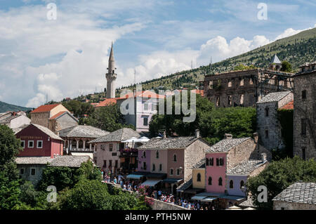 Mostar, Bosnia: skyline of the old bazaar Kujundziluk, the muslim and Turkish quarter of the old town on the west side of the Stari Most (Old Bridge) - Stock Photo