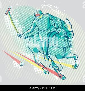 Polo player on graphics background, vector image - Stock Photo