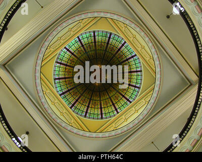 The stained glass dome inside the Queen Victoria Building, Sydney, NSW, Australia - Stock Photo