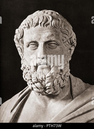 Bust of Sophocles,  c. 497/6 – 406/5 BC. Ancient Greek tragedian. - Stock Photo