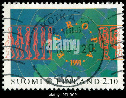 Postmarked stamp from Finland in the Europa (C.E.P.T.) 1991 - Europe in Space series issued in 1991 - Stock Photo