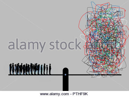 Crowd of people on seesaw opposite tangled ball - Stock Photo