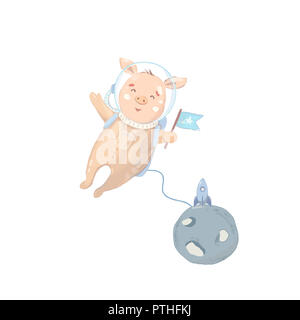 Piggy character Cute Astranaut in Space with moon. Sweet clip art - Stock Photo