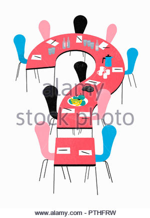 Empty board room with question mark shaped conference table - Stock Photo